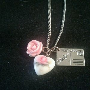 Jewelry - Vintage postcard I love you necklace